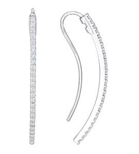 Серьги-продевки из серебра с фианитами 94021319