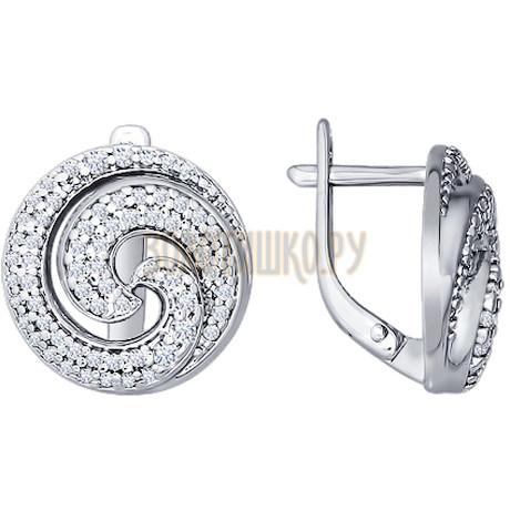 Серьги «Спираль» из серебра с фианитами 94021360