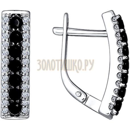 Серьги из серебра с чёрными фианитами 94021381