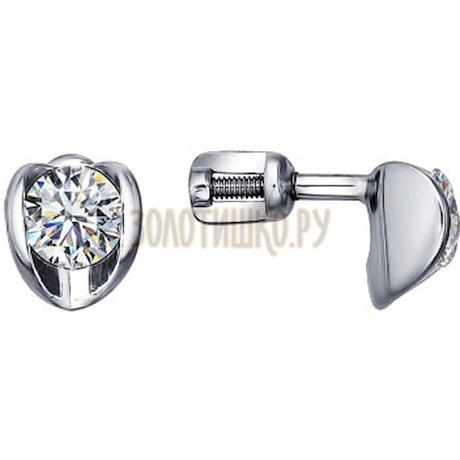 Серебряные пусеты с фианитами 94021405