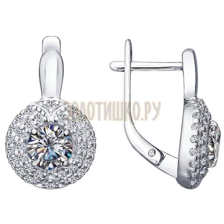 Серьги из серебра с фианитами 94021434