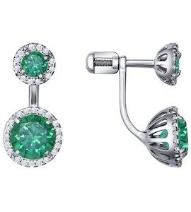 Гвоздики из серебра с зелёными фианитами 94021437