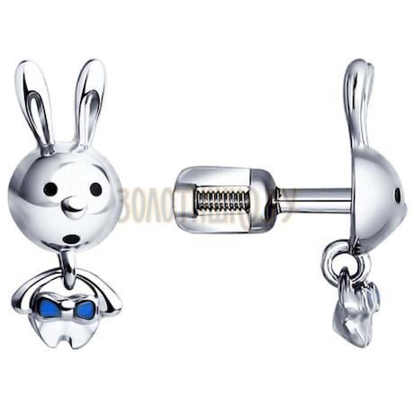 Серьги-пусеты из серебра с эмалью 94021444