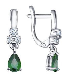 Серьги из серебра с зелеными фианитами 94021495