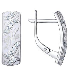 Серьги из серебра с эмалью с фианитами 94021520