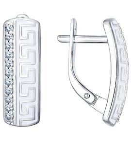 Серьги из серебра с эмалью с фианитами 94021532