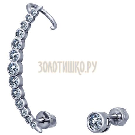 Серьги из серебра с фианитами 94021674