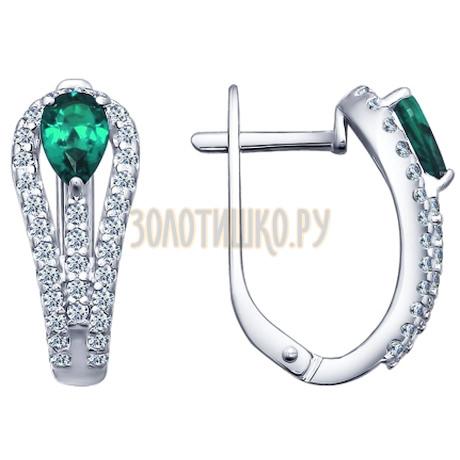 Серьги из серебра с зелеными фианитами 94021681