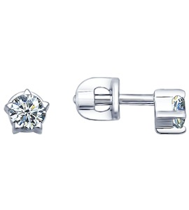 Серьги-пусеты из серебра с фианитами 94021687