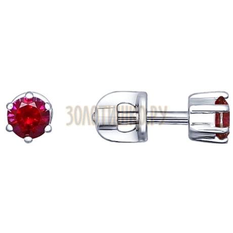 Серьги-пусеты из серебра с фианитами 94021723