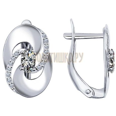 Серьги из серебра с фианитами 94021736