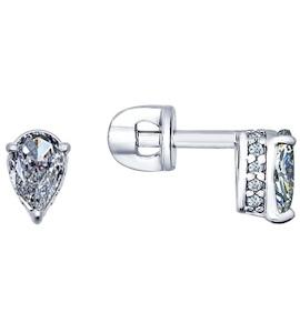 Серьги-пусеты из серебра с фианитами 94021738