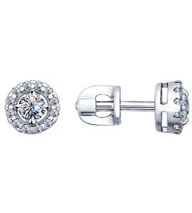 Серьги-пусеты из серебра с фианитами 94021761