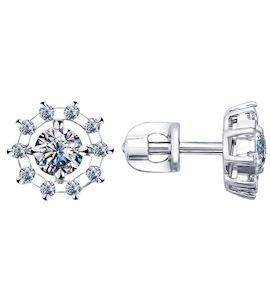 Серьги-пусеты из серебра с фианитами 94021762
