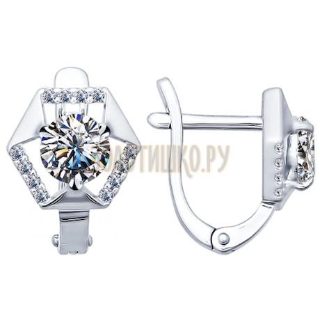 Серьги из серебра с фианитами 94021780