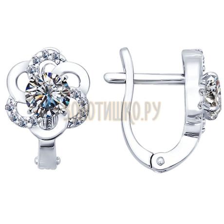 Серьги из серебра с фианитами 94021781