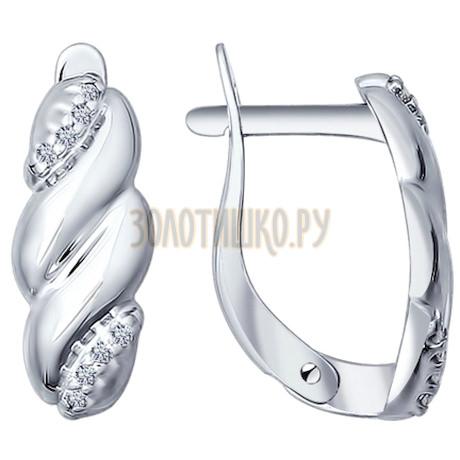 Серьги из серебра с фианитами 94021889