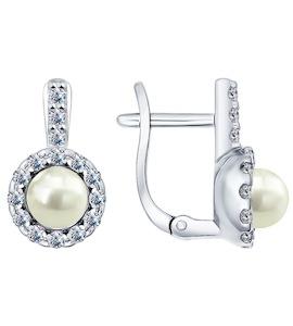 Серьги из серебра с жемчугом и фианитами 94021944