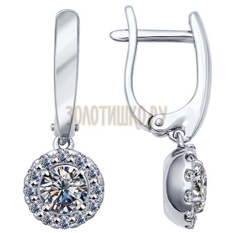 Серьги из серебра с фианитами 94021953