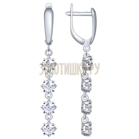 Серьги длинные из серебра с фианитами 94022011