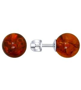 Серьги-пусеты из серебра с янтарём 94022018