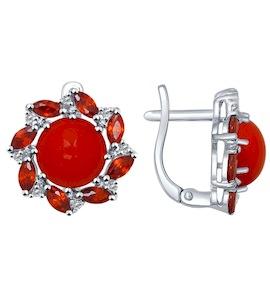 Серьги из серебра с кораллами и красными и бесцветными фианитами 94022053
