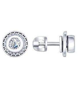 Серьги-пусеты из серебра с фианитами 94022107