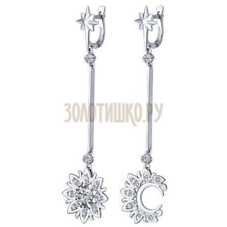 Серьги длинные из серебра с фианитами 94022161