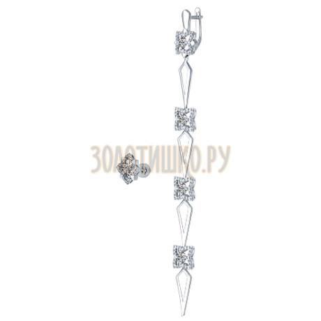 Серьги длинные из серебра с фианитами 94022173