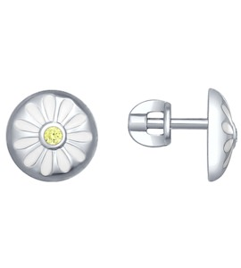Серьги-пусеты из серебра с эмалью с фианитами «Ромашки» 94022183