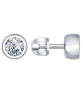 Серьги-пусеты из серебра с фианитами 94022230