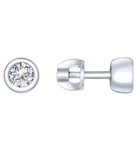 Серьги-пусеты из серебра с фианитами 94022234