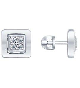 Серьги-пусеты из серебра с фианитами 94022289