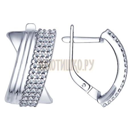 Серьги из серебра с фианитами 94022338