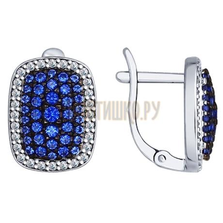 Серьги из серебра с синими фианитами 94022340