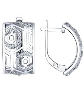 Серьги из серебра с фианитами 94022362