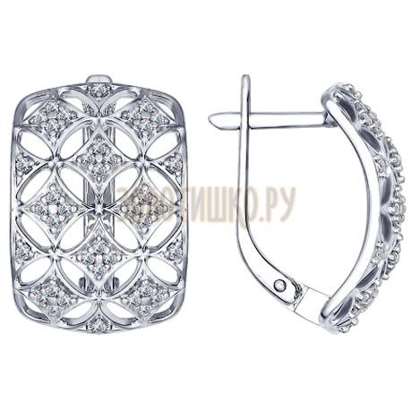 Серьги из серебра с фианитами 94022379