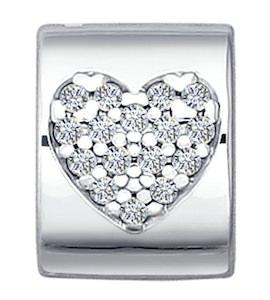 Подвеска-шарм из серебра с фианитами 94030651
