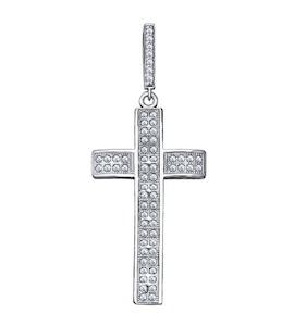 Крест из серебра с фианитами 94031250