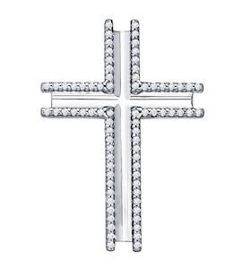 Крест из серебра с фианитами 94031252