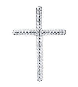 Крест из серебра с фианитами 94031253