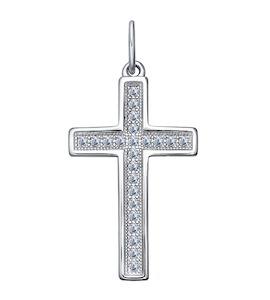 Крест из серебра с фианитами 94031254