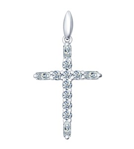 Крест из серебра с фианитами 94031380