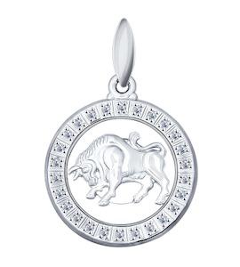 Подвеска знак зодиака из серебра с фианитами 94031384