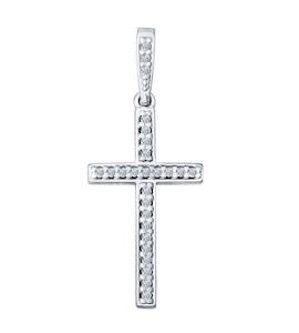 Крест из серебра с фианитами 94031460