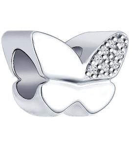Подвеска-шарм из серебра с фианитами 94031604