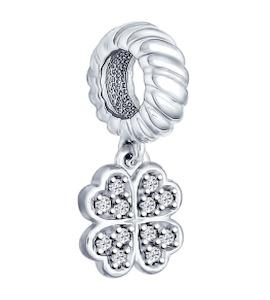 Подвеска-шарм клевер из серебра с фианитами 94031627