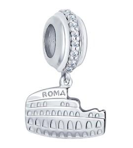 Подвеска-шарм из серебра с фианитами 94031674