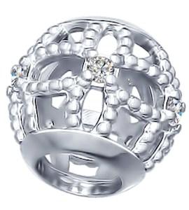 Подвеска-шарм из серебра с фианитами 94031680