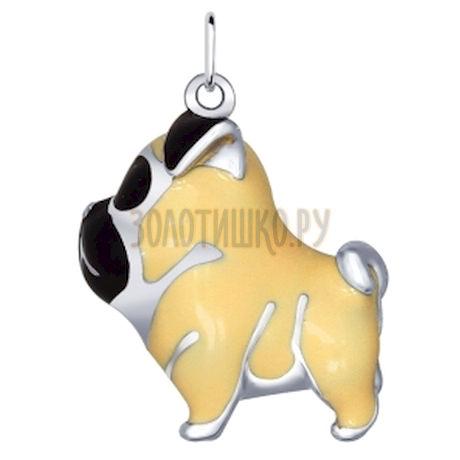 Подвеска собачка из серебра с эмалью «Мопс» 94031687